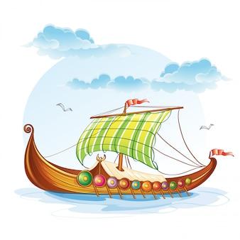 Image de dessin animé des navires marchands viking s.vi