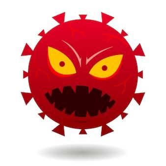 Image de dessin animé de visage de virus rouge en colère, illustration de germes sur fond blanc.