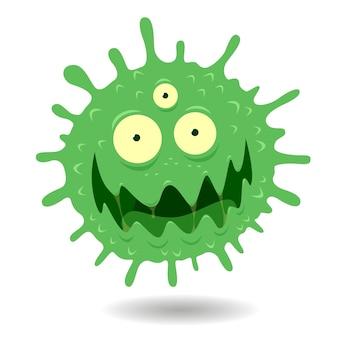 Image de dessin animé de visage de virus vert en colère, illustration de germes sur fond blanc.
