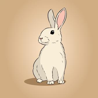Image de doodle de dessin au trait dessiné main mignon lapin