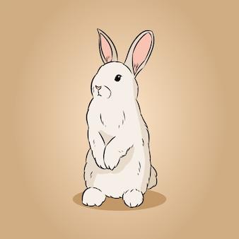 Image de doodle lineart dessiné main mignon lapin