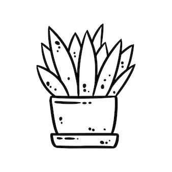Image de doodle mignon plante succulente. logo d'humeur hygge à l'aloès. les médias mettent en évidence le symbole graphique