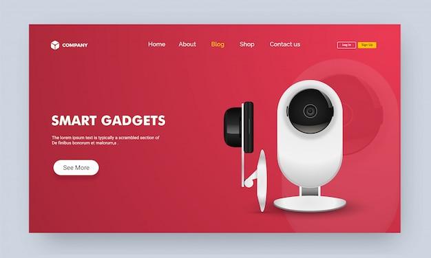 Image du site web ou page de destination avec smart gadget.