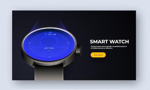Image du site web ou page de destination avec smart watch.