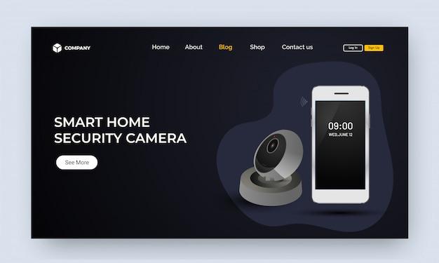 Image du site web ou page de destination avec smartphone et voice assistan