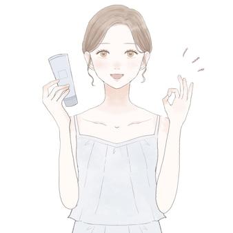 Image de l'effet des cosmétiques. sur fond blanc.