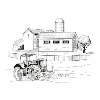 Image de la ferme, des maisons et un tracteur. croquis dessiné à la main. illustration vectorielle