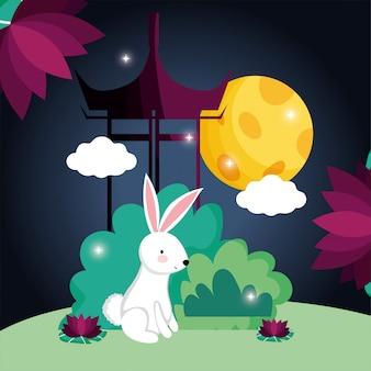 Image de la fête de la lune heureuse lapin