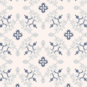 Image de fond floral vintage vector bleu et blanc