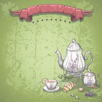 Image de fond avec service à thé avec des feuilles de thé, des croissants et des bonbons au chocolat