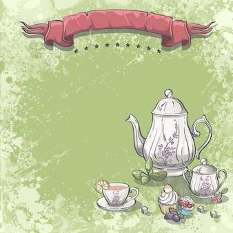Image de fond avec service à thé avec des feuilles de thé, des cupcakes et des cubes de sucre.