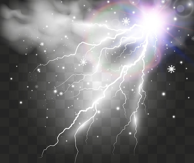 Image de foudre réaliste flash de tonnerre sur transparent