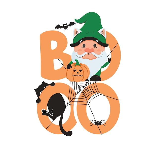 L'image d'halloween avec le texte du gnome boo cat et spider la phrase de lettrage pour les dessins d'halloween