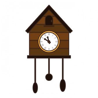 Image d'icône d'horloge coucou brun