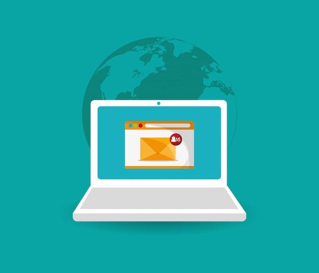 Image d'icônes liées à la messagerie numérique