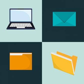 Image d'icônes ordinateur portable et enveloppe