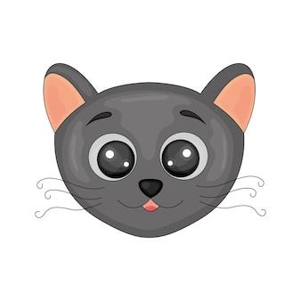 Image isolée de chat noir dessin animé mignon sur fond blanc