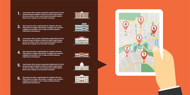 Image d'une main humaine tenant une tablette numérique avec carte et de nombreux pointeurs gps sur l'écran et les icônes de bâtiments, cartes mobiles et concept de positionnement gps