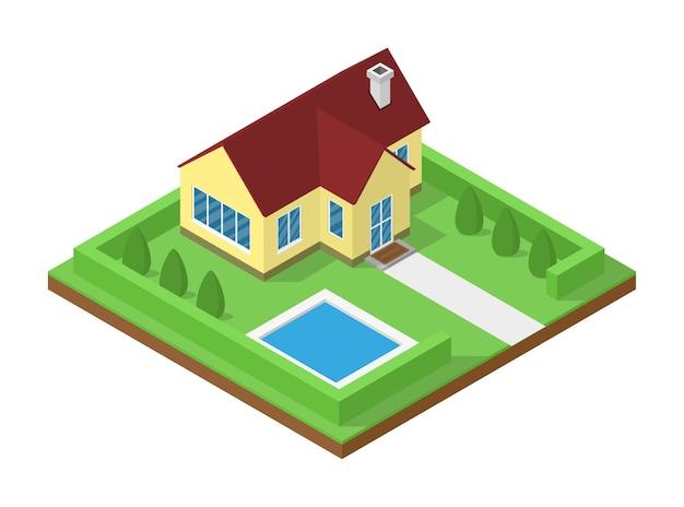 Image de maison de campagne isométrique pour bannières immobilières, brochures, pages web