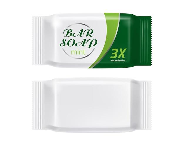 Image de marque de maquette de paquet de barre de savon réaliste de vecteur
