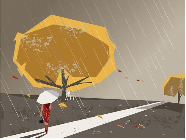 Image minimaliste avec texture grunge dans une scène de paysage en automne