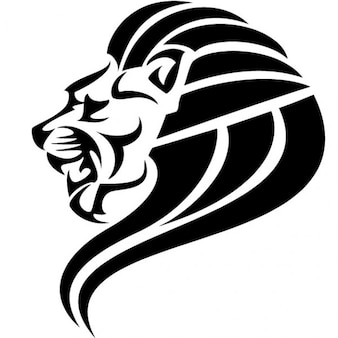 Image en noir tête de lion vecteur