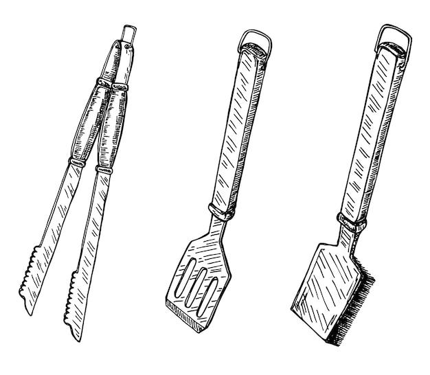 Image des outils de gril. élément de croquis vintage