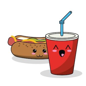 Image de paille de soude de hot-dog de kawaii