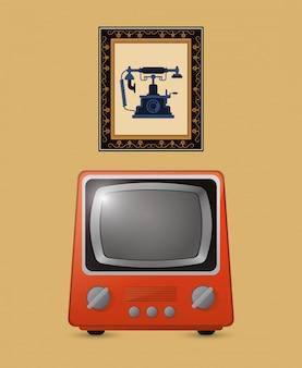 Image rétro tv emblème