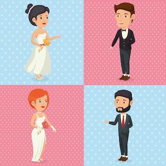 Image romantique de personnages juste mariés posant