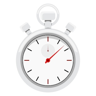 Image de style dessin animé d'un chronomètre de sport en métal chromé avec flèche rouge.