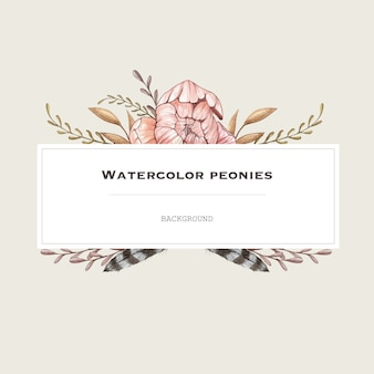 Image de vecteur aquarelle avec pivoines pastel dans un style vintage. fond de conception.