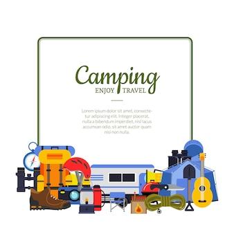 Image de vecteur avec la place pour le texte avec des éléments de camping style plat ci-dessous illustration