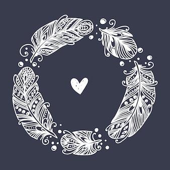 Image de vecteur de plume décorative. illustration dessinée à la main