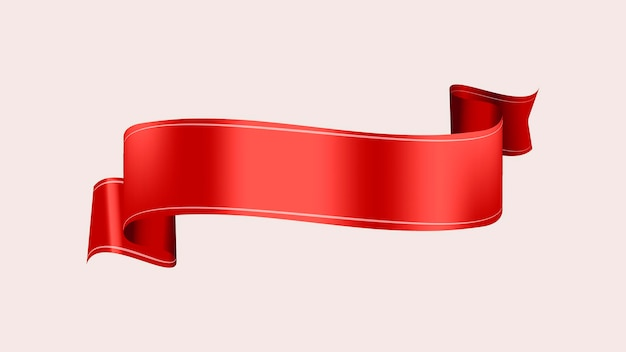 Image vectorielle de bannière de ruban, élément graphique d'étiquette rouge
