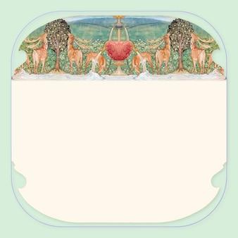 Image vectorielle, cerf près d'une fontaine, remixée à partir d'œuvres d'art vintage de sir edward coley burne–jones
