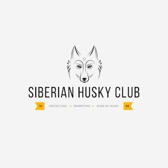 Image vectorielle d'un dessin de chien husky sibérien sur fond blanc et fond jaune, logo, symbole, animaux