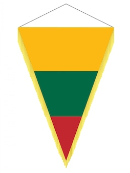 Image vectorielle d'un fanion avec le drapeau national de la lituanie