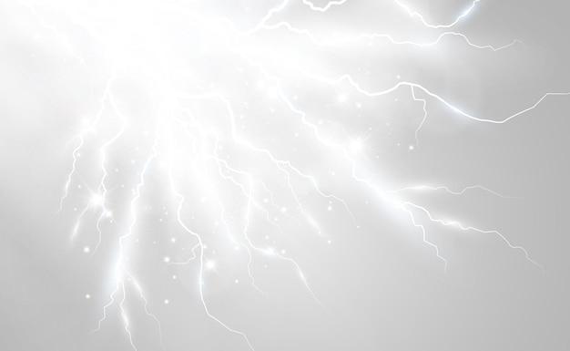 Image vectorielle de foudre réaliste flash de tonnerre sur un fond transparent