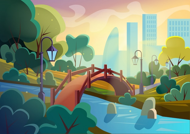 Image vectorielle lumineux du parc de dessin animé automne été avec pont sur la petite rivière dans les étincelles avec la ville sur fond. conception fluide du jeu.