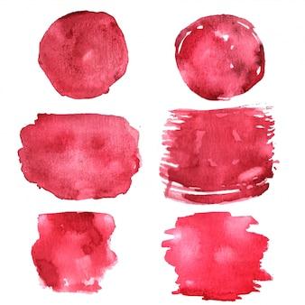 Image vectorielle de texture aquarelle abstraite main peinture rouge