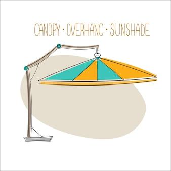 Image vectorielle unique de parasol de plage auvent auvent de tente auvent pare-soleil