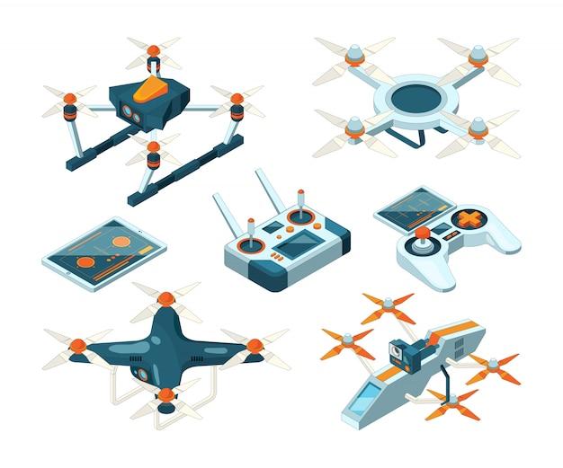 Images 3d isométriques de coptères de drones, quadcoptères ou avions sans pilote