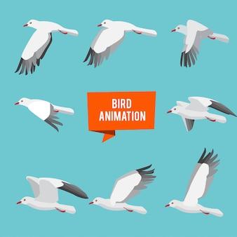 Images clés de l'oiseau volant d'animation