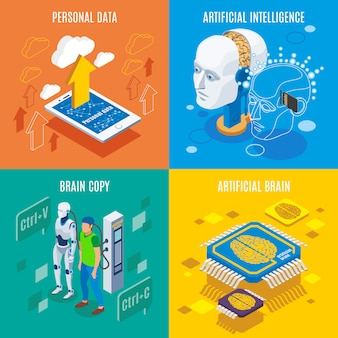 Images conceptuelles de technologies futuristes et de cerveau artificiel