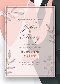 Images de couple imprimé carte de mariage, mise en page de modèle avec détails de lieu.