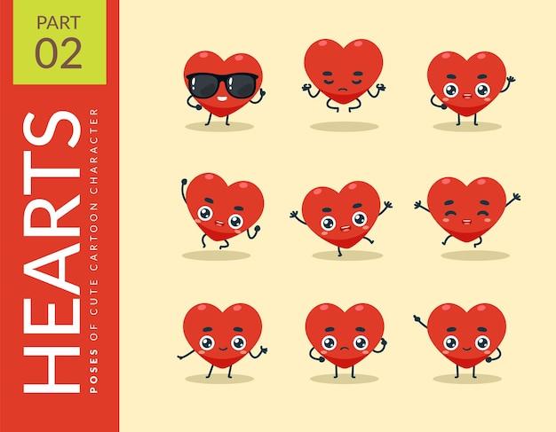 Images de dessins animés du cœur rouge. ensemble.