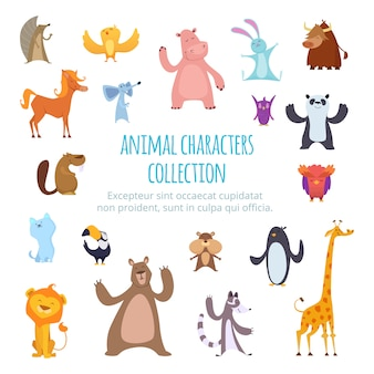 Images avec différents animaux de dessins animés