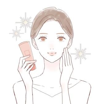 Images d'effets cosmétiques. sur un fond blanc. style artistique mignon et simple.