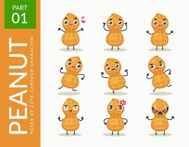 Images de mascotte de l'arachide. ensemble.